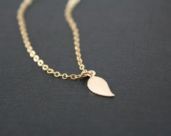 14K Gold filled leaf necklace,  Delicate leaf jewelry, simple leaf necklace, everyday wear, cute and tiny, mother's day birthday gift