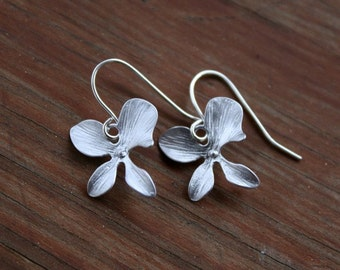 Silver orchid earrings