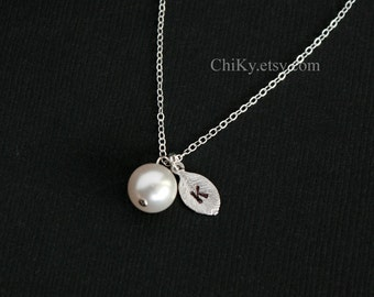 Initial necklace, pearl necklace, STERLING SILVER - bridesmaids gifts, mothers day gifts, bridal gift ,initial leaf