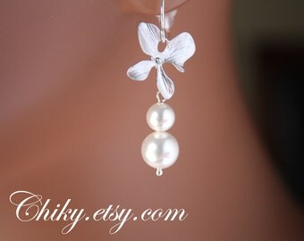 Orchid with 2  pearl earrings - Sterling Silver wedding bridal jewelry gift, dainty earrings, delicate simple
