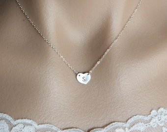 Sterling Silver Initial Heart Necklace, Personalized Jewelry , everyday wear, bridesmaid gifts , friendship gift ,for wife ,mom daughter