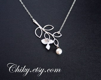 wedding Bridal jewelry - Delicate Leaf branch and Orchid necklace with Pearl - SILVER , wedding Bridal Necklace, brides bridesmaid gifts