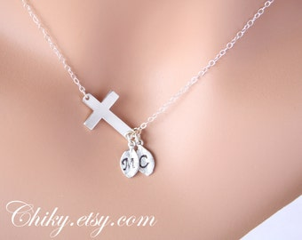 Personalized Sideways cross necklace with initial leafs, horizontal cross necklace, STERLING SILVER, simple necklace,  birthday gift