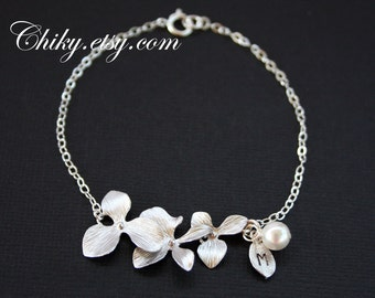 Cute Triple orchid bracelet with pearl and leaf - STERLING SILVER, wedding bridal jewelry, brides bridesmaid gift, flower girl bracelet