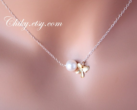 Pearl and Orchid necklace - Sterling Silver gold , floral botanical necklace, elegant simple, bridesmaids gift, flower girl gift, Cute small