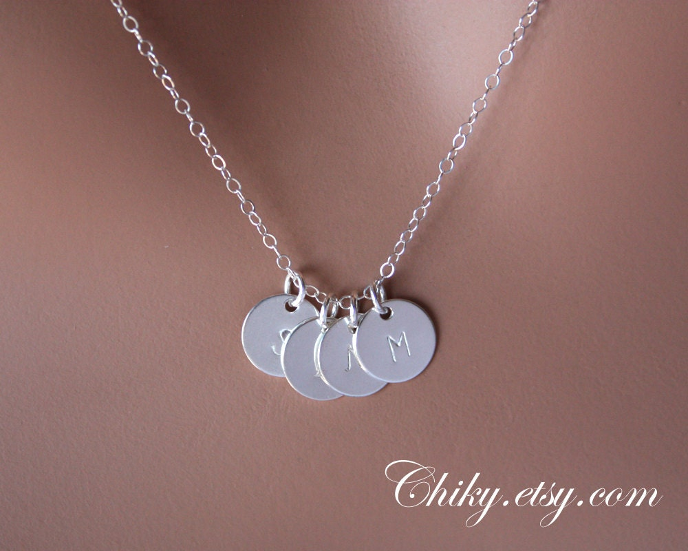 four initial discs necklace sterling silver monogram charm. Black Bedroom Furniture Sets. Home Design Ideas