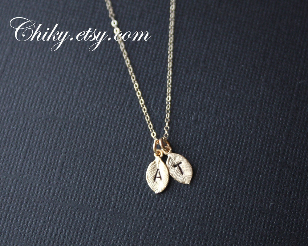 two initial leaf necklace in gold personalize jewelry