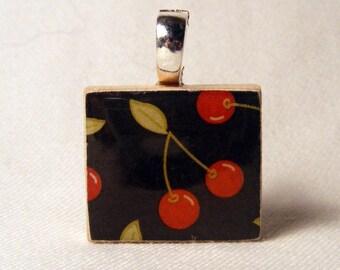 Pin-up, Rockabilly, Cherry Scrabble tile pendant