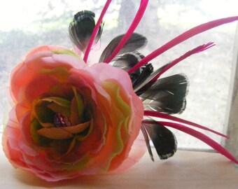 Pale pink silk flower - swarovski hair candy