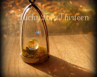 miniture crystal ball with moss pendant charm
