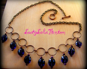Chunky purple Czech glass beaded circle necklace