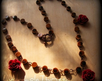 Beautiful red roses and brown porcelain rosary necklace