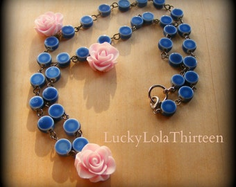 Beautiful lilac roses and blue porcelain rosary necklace