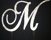 Letter M Swarovski Crystal Monogram Cake Topper