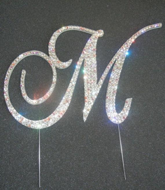 m monogram cake topper