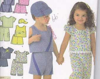 Simplicity 4158 Toddler's Cropped Pants, Shorts, Top, and Cap