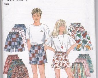 Simplicity 9052 Girls and Boys Shorts Size 7-14