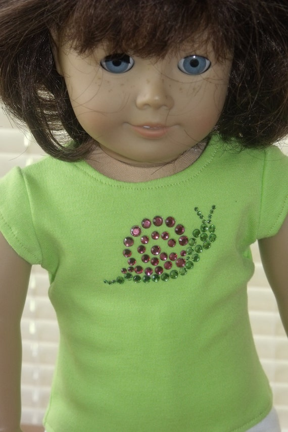 American Girl Doll Clothes Rhinestone T-Shirt and White Knit Capris