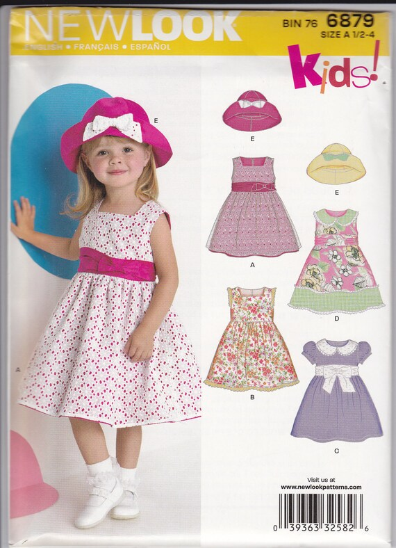 New Look Simplicity 6879 Pattern Toddler Dresses and Hats Sizes 1/2-4
