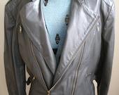 80s vintage Men's unisex grey full grain leather moto motorcyle jacket coat brass zippers