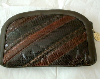 80s VINTAGE Marle brown real snakeskin leather clutch bag pouch evening purse
