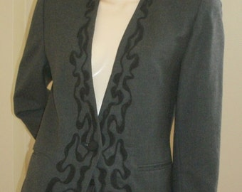 80s vintage charcoal gray cocktail corded embellished embroidered wool jacket blazer PSI 8 M-L