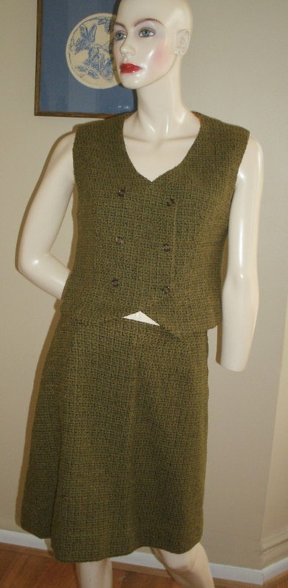50s vintage deep olive green black wool tweed vest and skirt suit set Louis LeClerc NY