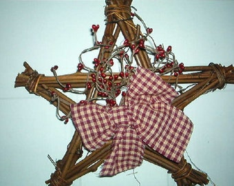 12 Inch Primitive/Country Twig Star with Pip Berries