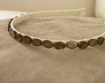 Amber Mother of Pearl Beaded  Headband