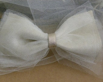 Leather & Tulle Bow Clip