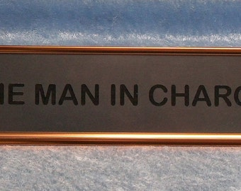 Desk Nameplate Holder in Polished Rose Gold with Custom Insert