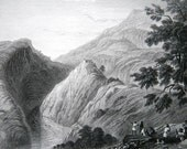 Antique 1830s Print - View Near Kursalee - Village in the Himalaya Mountains India