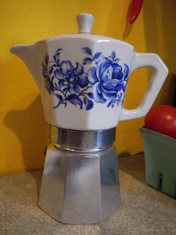 Blue Italian Coffee Maker : Italian Blue and White Espresso Stove Top Coffee Maker Ceramic