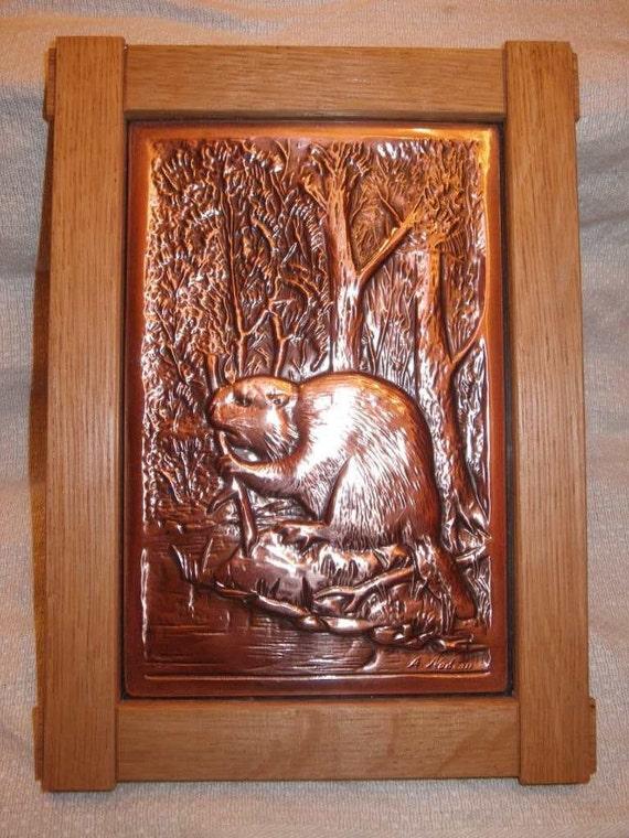 Vintage Copper Beaver Art Wall Plaque Embossed Foil By Nadeau