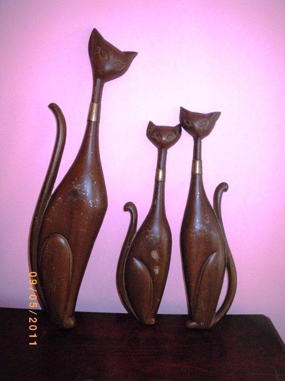 Vintage Mid Century Modern Sexton Cats Wall Art Cast Metal 1960s