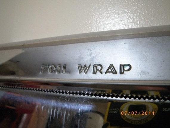 Vintage 1950s Chrome Metal Triple Kitchen Cutter for Foil Wrap Wax Paper