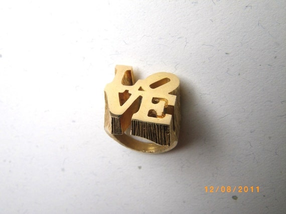Vintage 1970s Robert Indiana Chunky Gold LOVE Ring. Classic Art Sculpture for Your Hand.