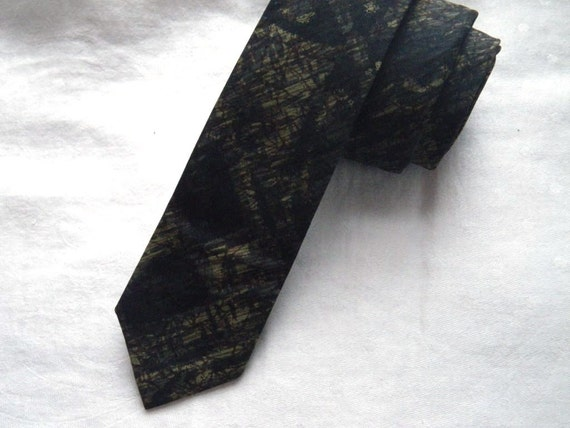 Vintage 1960s Skinny Abstract Pattern Tie. Gray, Black, Brown, and Moss Green.