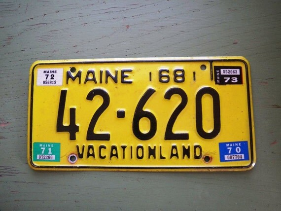 Vintage 1968 maine vacationland license plate yellow by for Illinois fishing license cost