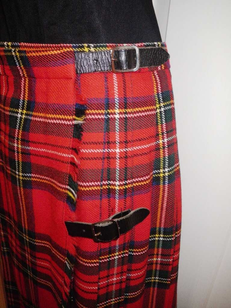 Vintage Scotland Kilt Skirt Tartan Plaid Scottish Pleated Wool