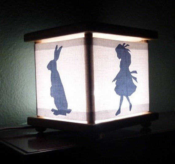 Alice in Wonderland Lamp Night Light Lantern Nightlight White Rabbit Cheshire Cat Caterpillar