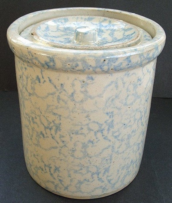Excellent antique BLUE SPONGEWARE butter crock w/ lid  REDWING Stoneware