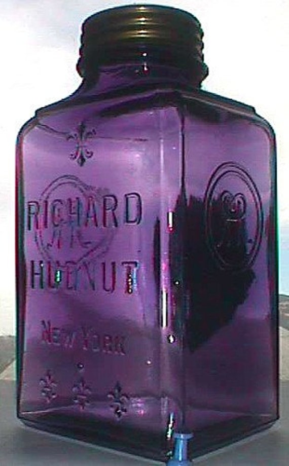 Large antique Purple Glass jar RICHARD HUDNUT Pot-Pourri SACHET all-original