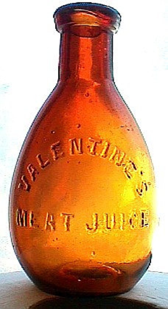 Great Looking VALENTINE MEAT JUICE Unusual and Ornate Antique Bottle. Hand blown from 1800's.