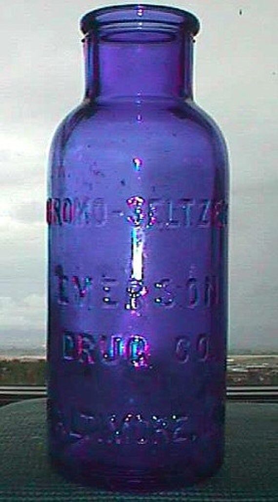 LARGE Deep COBALT BLUE antique Bromo Seltzer Apothecary bottle, early Cork Top, 100 years old.