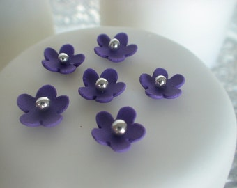 edible sugar mini flowers purple set of 65