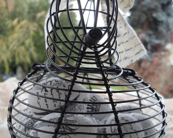 Black French Country Hen Basket with (8) EIGHT Hand Stamped Paper Mache Eggs