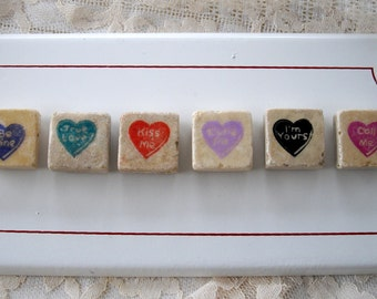 6 - ADORABLE Valentine Sweetheart Stone Magnets for the Shabby Cottage Chic Decor