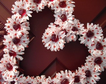 Valentine Cottage Chic Handmade Red and White Silk Flower Wreath