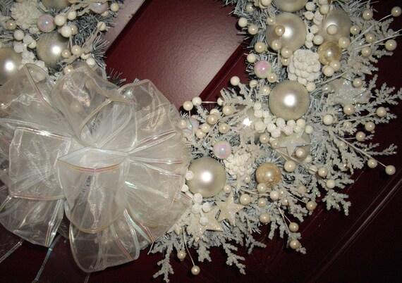 Snow White Shabby Cottage Chic Handmade Christmas Wreath